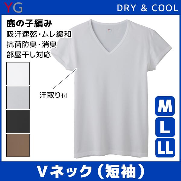 YG ワイジー DRY&COOL ドライ COOLMAGIC クールマジック 汗取り付きVネックTシャツ 短袖 Mサイズ Lサイズ グンゼ GUNZE | 涼しい 涼感 下着 インナー メンズ クール 大きいサイズ ひんやり 男性下着 紳士 クールインナー 吸汗速乾 夏 男性 メンズインナー 夏用 父の日