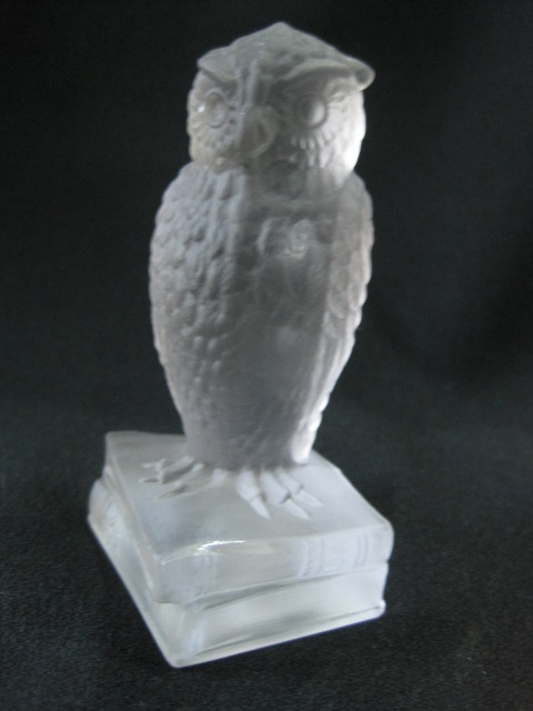 【USアートグラス】 フクロウのフィギュア Silver Frost