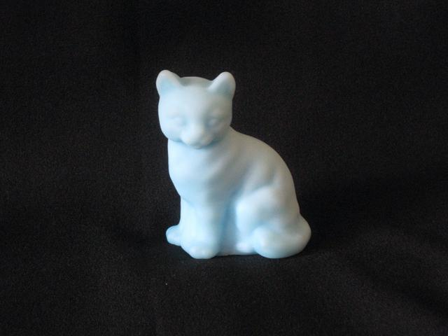 フェントン  ブルーサティンガラスの猫