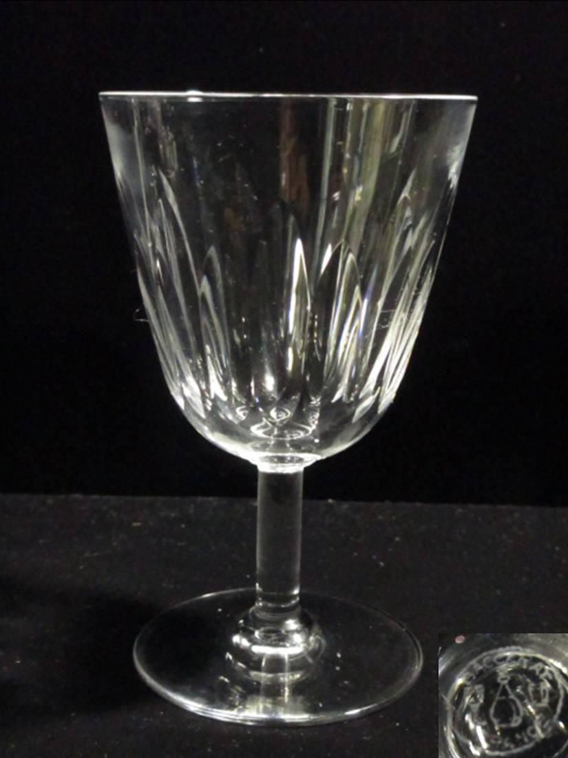 【バカラ】 縦に連なるカットの、赤ワインサイズのワイングラス 【Lorraine】
