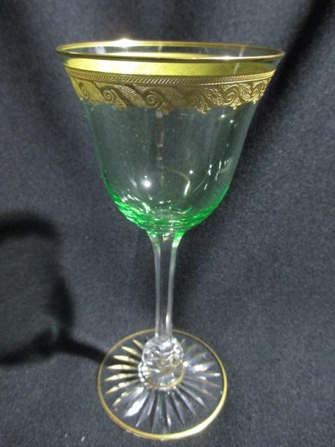 【推定 サンルイ】 金彩の縁取りが美しい、ウランガラスのワイングラス