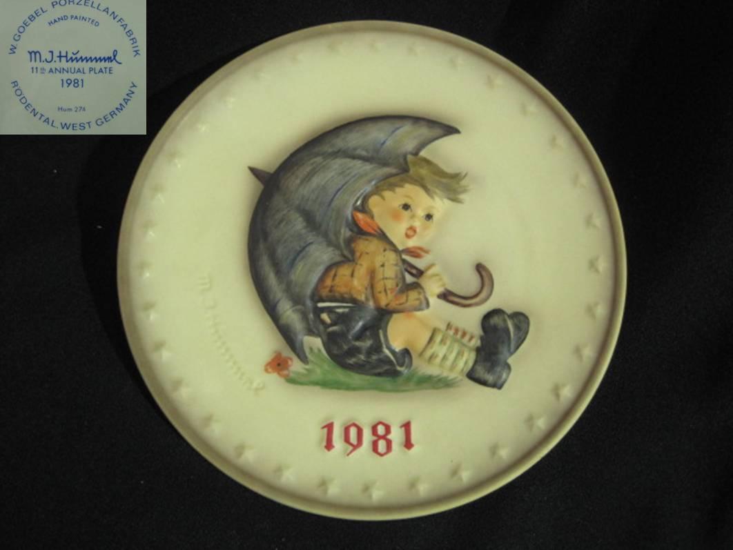 【Hummel】 フンメルのイヤープレート 1981 Umbrella Boy【箱あり】