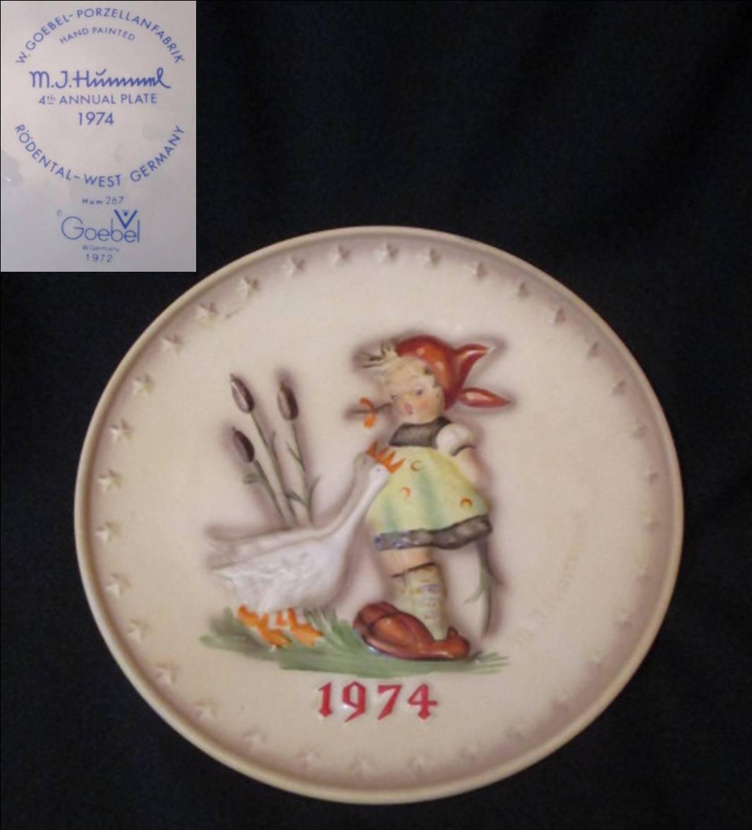 【Hummel】 フンメルのイヤープレート 1974 Goose Girl 【箱なし】
