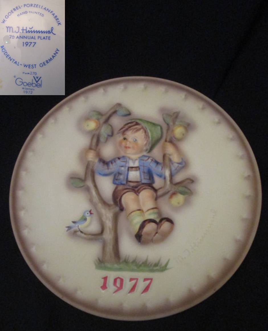 【Hummel】 フンメルのイヤープレート 1977 Apple Tree Boy 【箱なし】