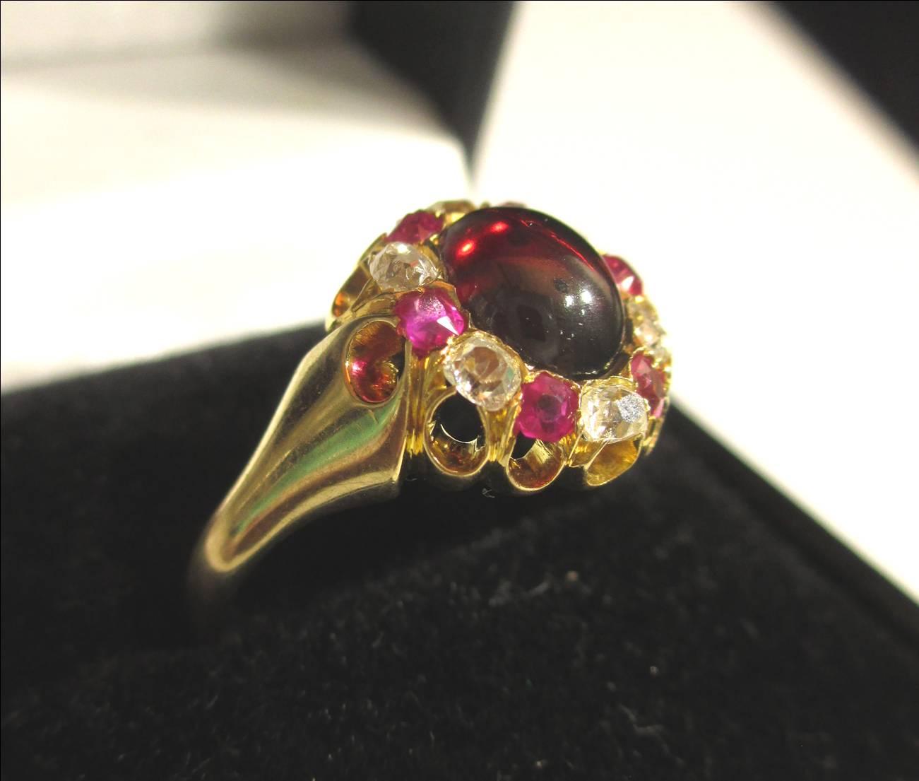 【19世紀ヴィクトリアンアンティークジュエリー】ガーネット、ダイヤ、ルビーを使ったと18Kの指輪
