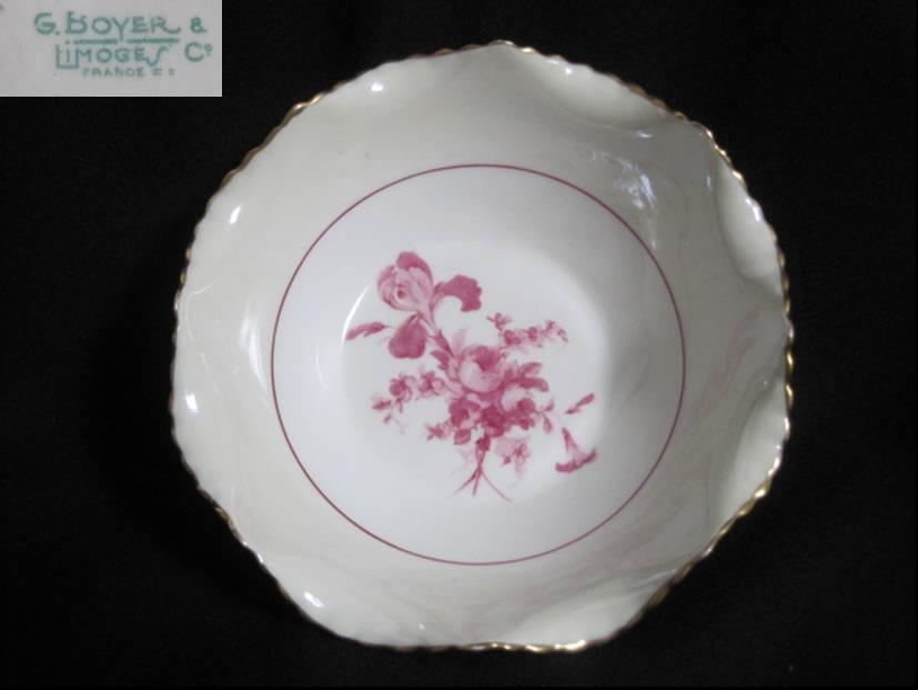 【アンティーク】リモージュ 赤紫の花のシリアルボウル