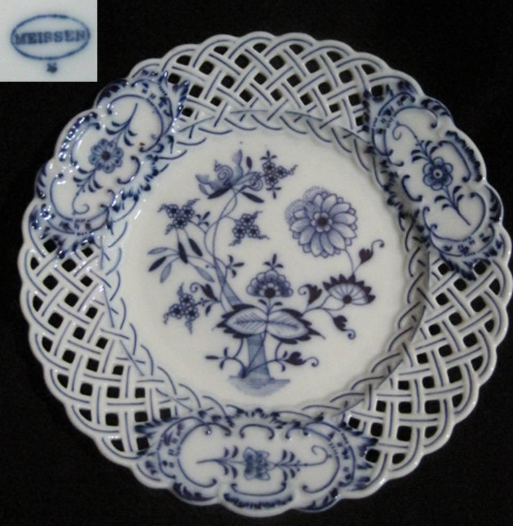 【アンティーク】 マイセン・イミテーション 【楕円印】 ブルーオニオンの透かし皿