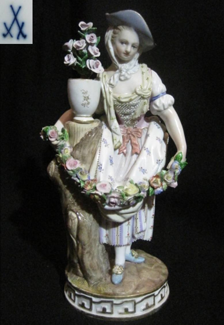 【アンティーク】 マイセン フィギュリン 【ボタン剣】 花輪を持つ少女