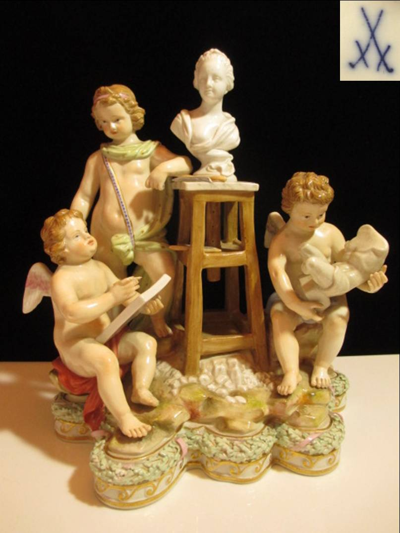 【アンティーク】 マイセン フィギュリン 【ボタン剣】 三人の彫刻家