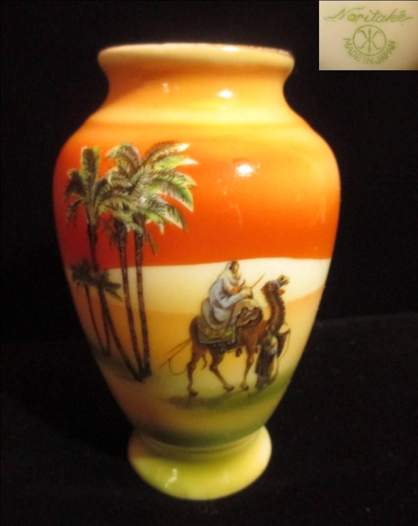 【明治アンティーク】 オールドノリタケマンオンキャメルの花瓶