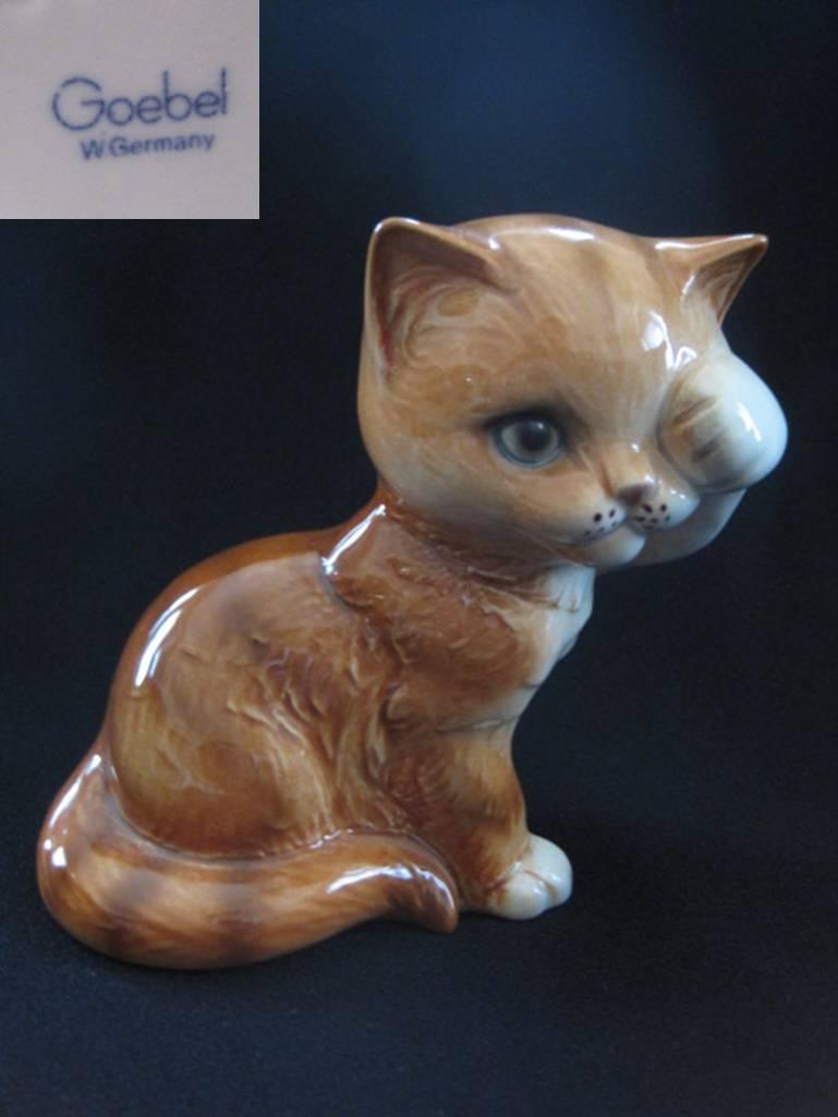 ドイツのゲーベル 目隠し茶トラ猫のフィギュア