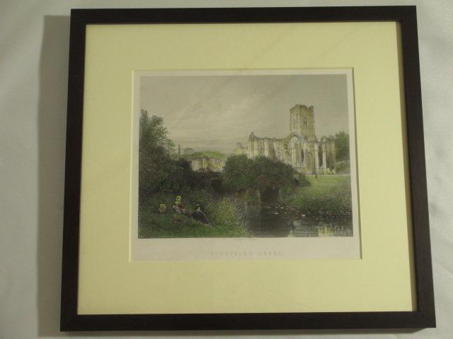 【19世紀英国アンティーク】修道院風景の版画