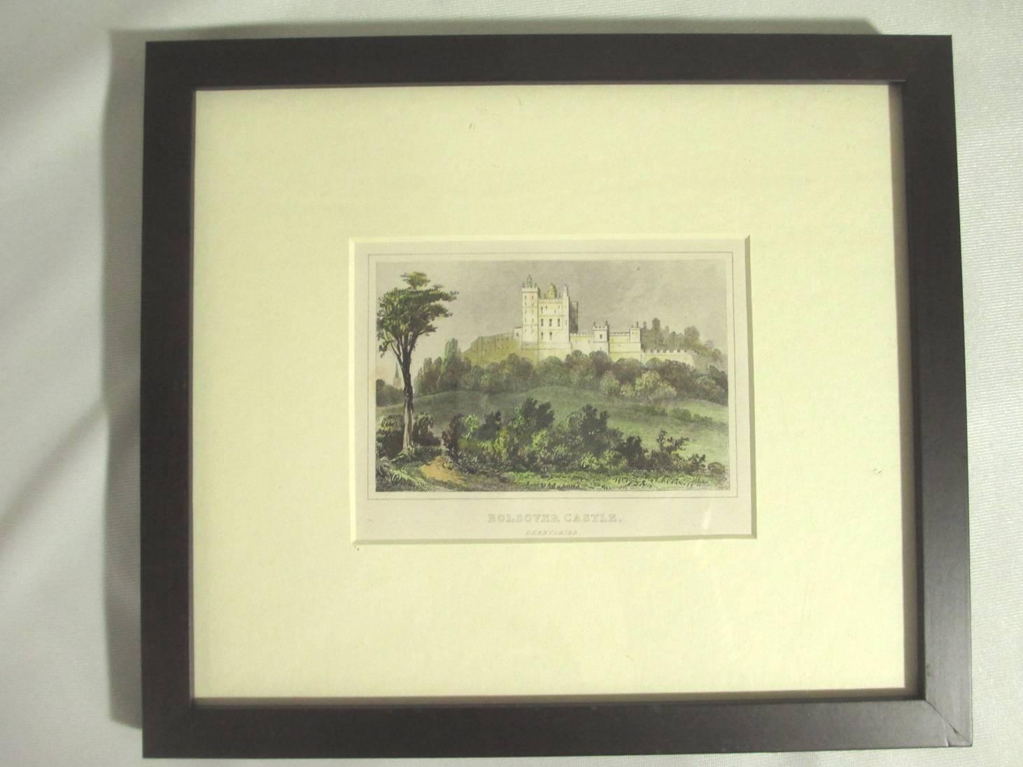 【19世紀英国アンティーク】白い城の風景の版画