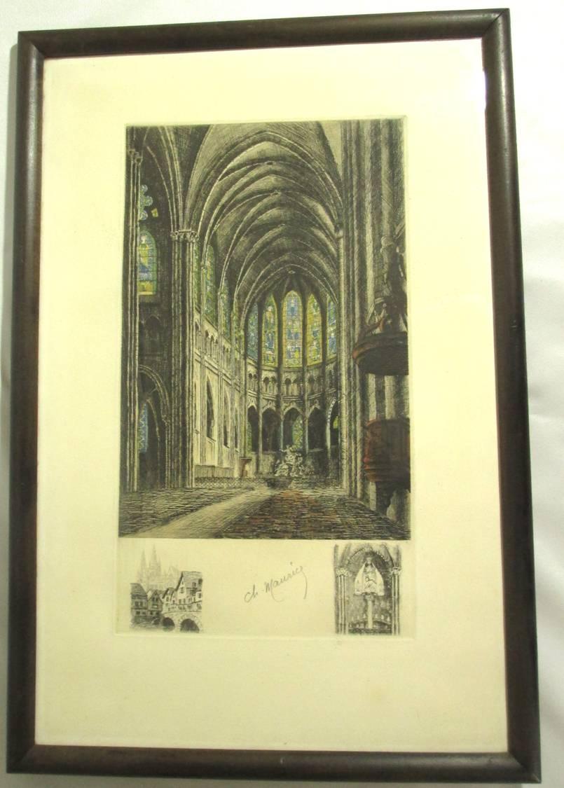 【19世紀仏国アンティーク】大聖堂のエッチング版画