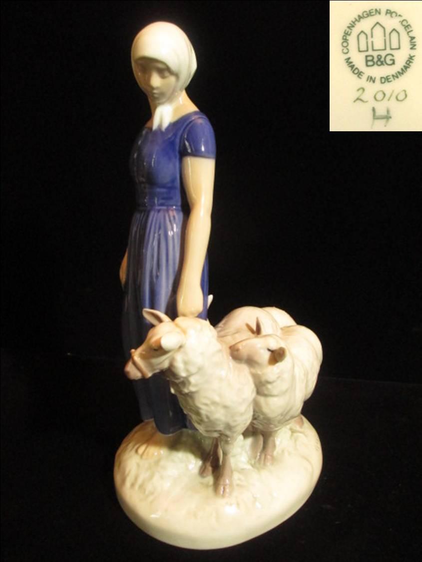 B&G羊を連れた女羊飼いのフィギュリン
