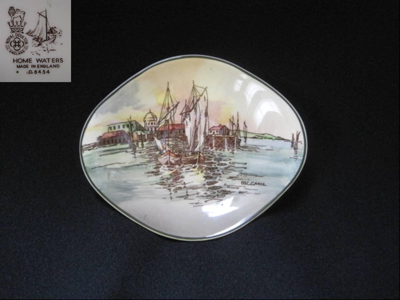 ロイヤルドルトン 帰港した船の絵皿