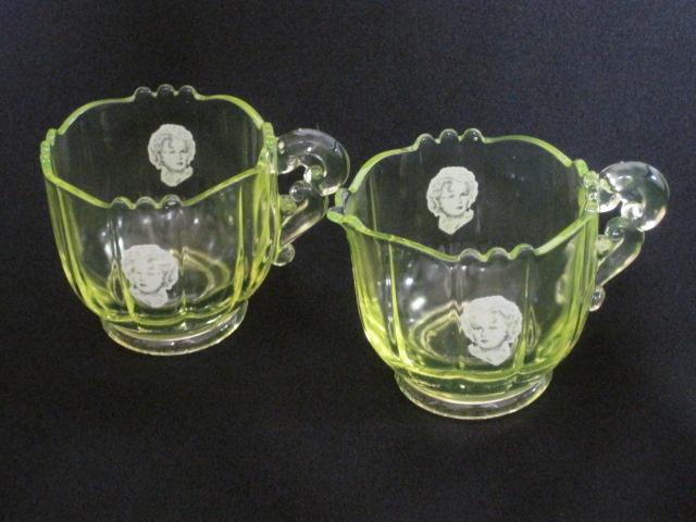 【アンティーク ウランガラス】 シュガーボウルとクリーマーセット