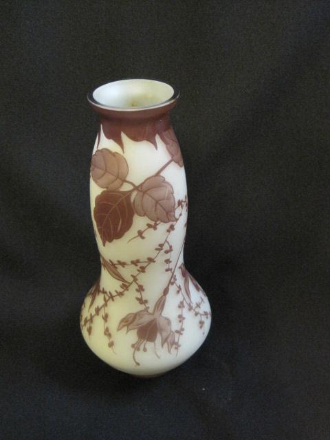 【アンティーク ウランガラス】 アールヌーボー調のチェコの花瓶