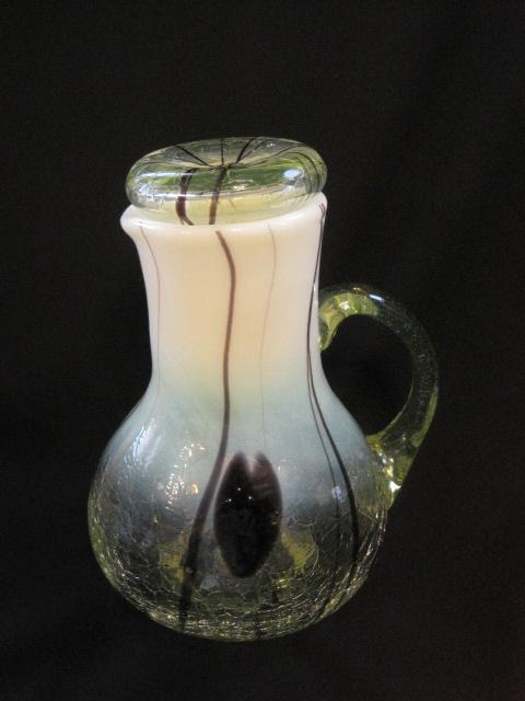 【アンティーク ウランガラス】 クラックルガラスのピッチャー