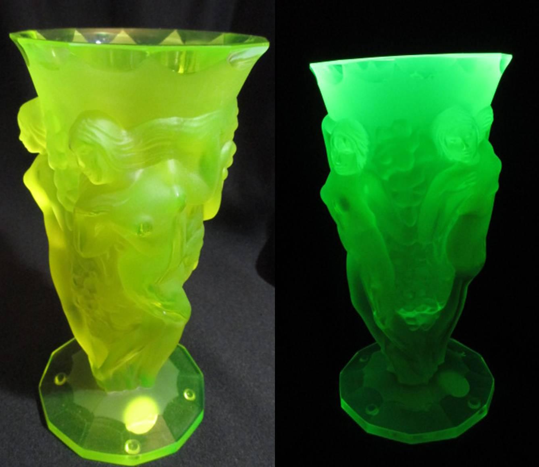 【ウランガラス】 ボヘミアガラスのアールデコ花瓶