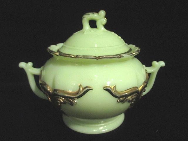 【19世紀アンティーク ウランガラス】 カスタードガラスのシュガーポット