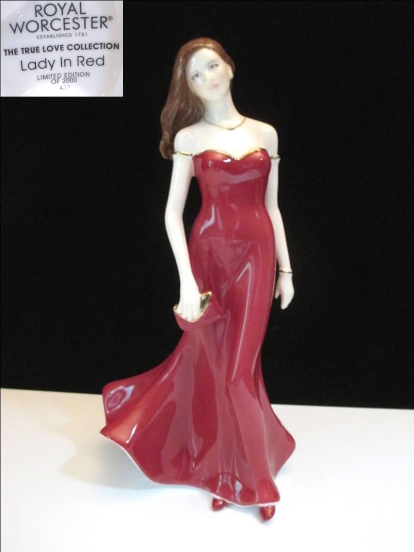 ロイヤル・ウースターレディ・フィギュリン【Lady in Red】