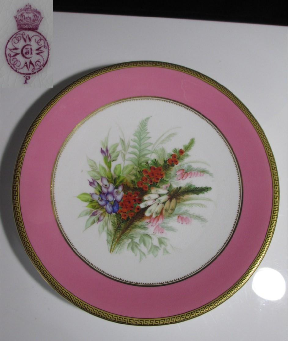 【19世紀ヴィクトリアンアンティーク】ロイヤル・ウースター花々が描かれた絵皿