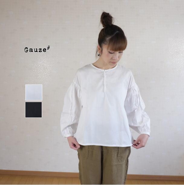 【40H限定全品P10倍!4/19(金)23:59迄】2019SS Gauze#(ガーゼ)ギャザープルオーバー ブラウス gather pull over blouse G335