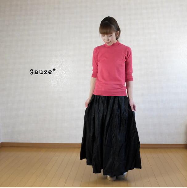 【40H限定全品P10倍!4/19(金)23:59迄】2019SS Gauze#(ガーゼ)オリジナルコーティングリネンプリーツスカート G363