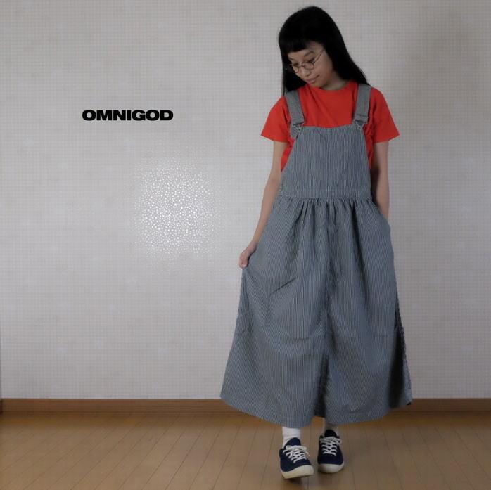 2020SS OMNIGOD(オムニゴッド)ヒッコリーサロペットスカート 57-173E