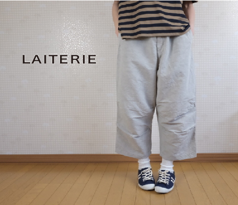 【40H限定全品P10倍!4/19(金)23:59迄】Nouvelles du paradis(パラディ)LAITERIE(レイトリー)C/Lウェザー ドロストパンツ LB18216