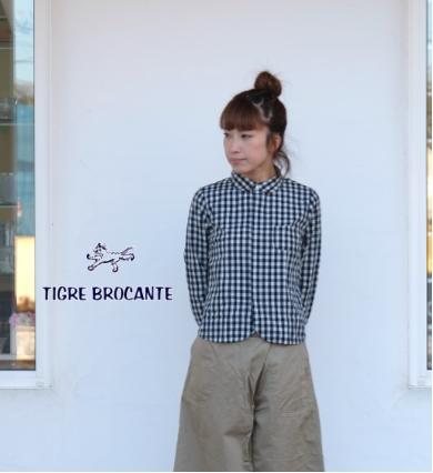 TIGRE BROCANTE(ティグルブロカンテ)インディゴギンガムチェック エスプリ 長袖シャツ LSH-12-TB17