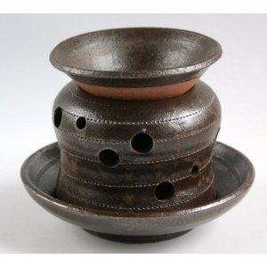 おもてなしに 陶芸家が心をこめて作りました 美濃伝統工芸士 お買い得品 加藤 誠 焼締め茶香炉 手作り 大注目 大 お茶の香り
