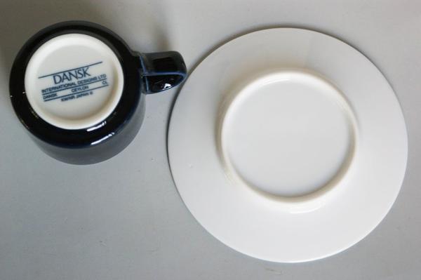 丹麥混合與匹配鮮藍色和白色咖啡杯杯 & 飛碟北歐簡單豪華耐用容易使用藍色小酒館杯 & 碟咖啡杯子 & 碟咖啡