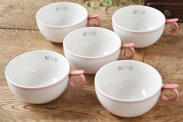 注目ブランド 激安超特価 持ちやすいレストのついた取ってが可愛い 5個セット IDYLL アイディル PINK ピンク カップ の取って ロマンティック スープカップ