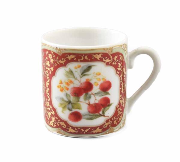 授与 倉庫 楽しく鮮やか VINTAGE 金彩 赤い実 カップ エスプレッソ デミタスカップ 黄色の花柄