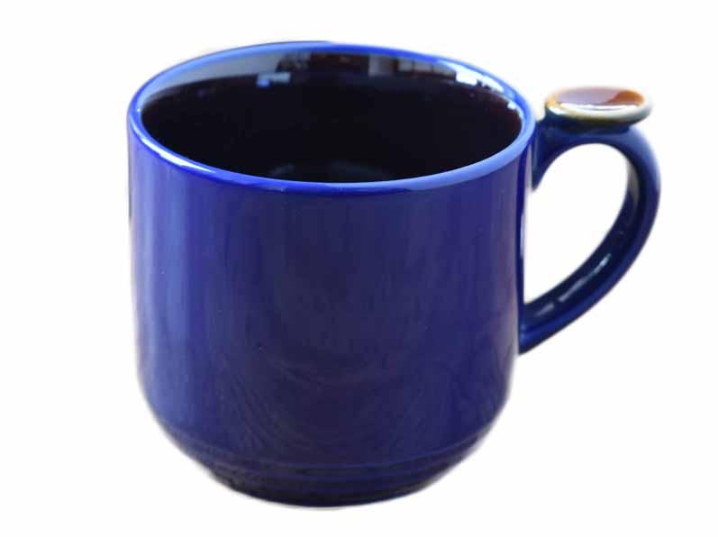 ハンドルのレストで持ちやすい リンドスタイメスト 塗り分け カラーウェイ Navy x ストーンウェアー Brown カラー食器 マグカップ 予約販売品 ネイビー×ブラウン 国内送料無料 ビールカップ