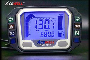 ACEWELL 多機能デジタルメーター(ACE-3853タイプ)/ヤマハ・スズキ用(100オメガタイプ) ACE-3853L