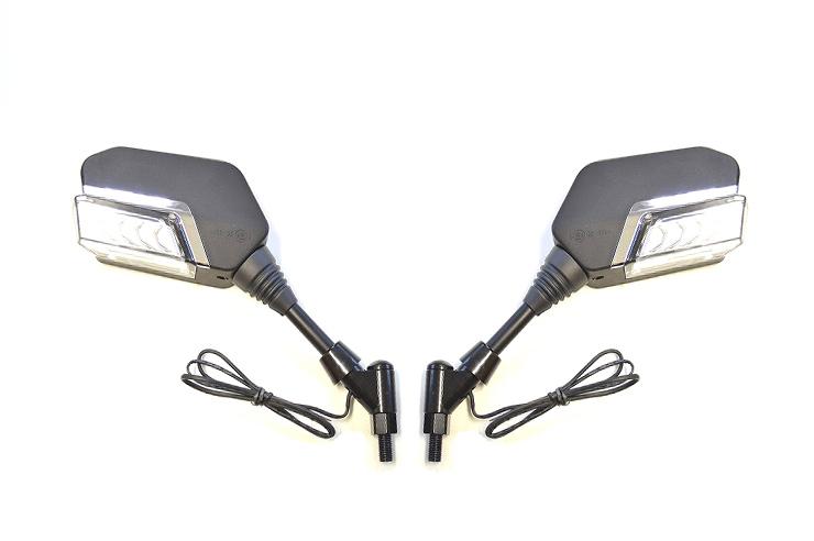 KN企画 シーケンシャルウインカー付バックミラー(デイライトホワイト)(左10mm正・右10mm逆ネジ)Eマーク付 BMSK3-BLW10Y