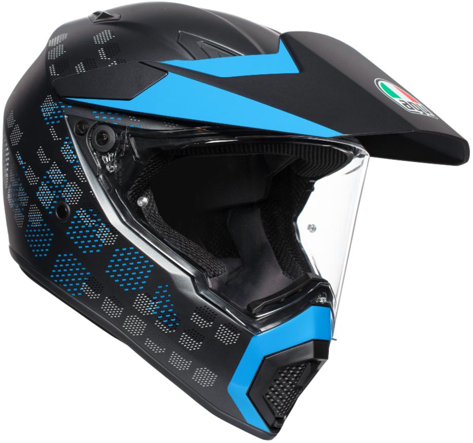 AGV(エージーブイ) バイク用ヘルメット オフロード AX9 ANTARTICA MATT BLACK/CYAN (アンタークティカ マットブラック/シアン) Lサイズ (59-60cm)763192LY004-L