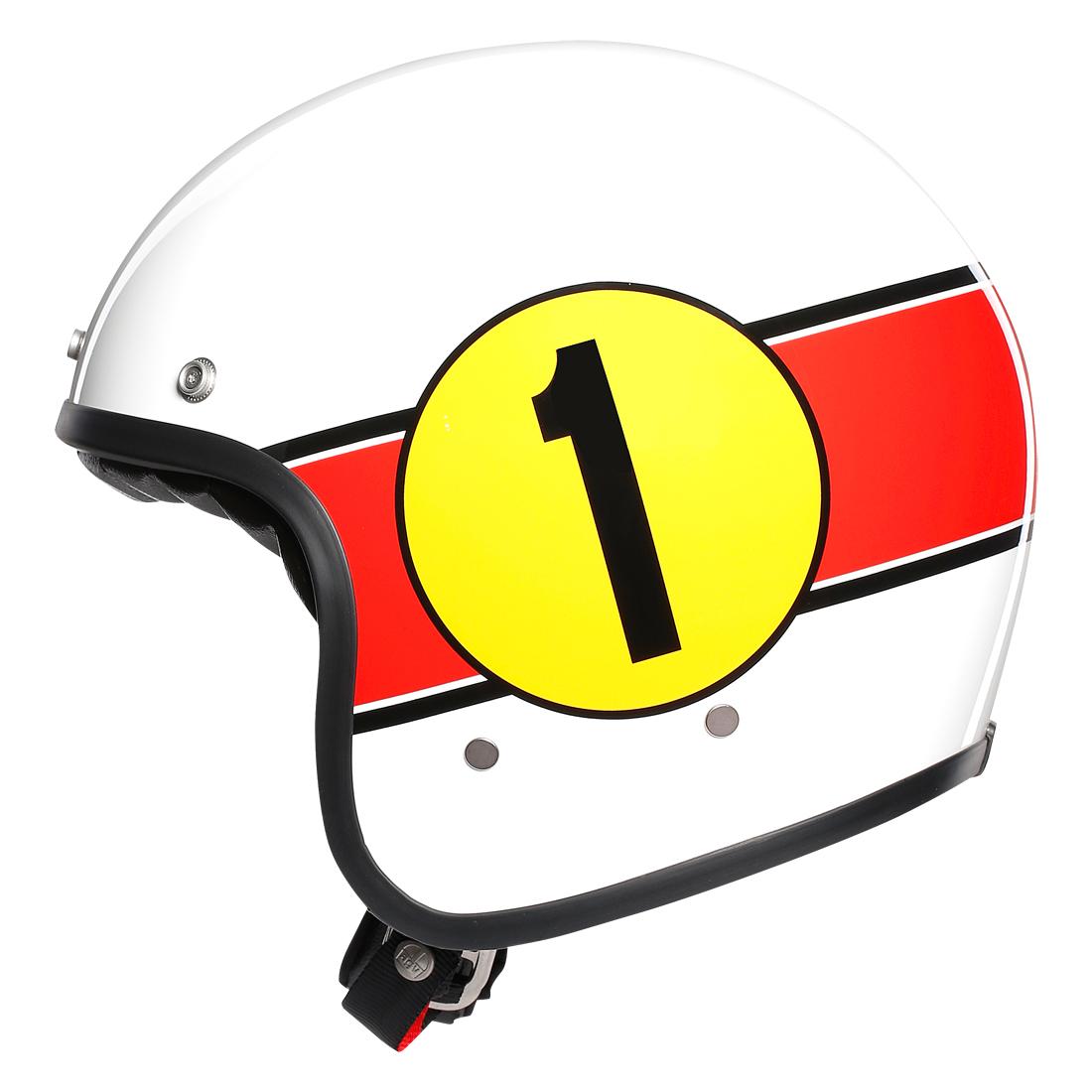 AGV(エージーブイ) バイク用ヘルメット ジェット LEGENDS X70 / MINO 73 WHITE/RED (ミーノ 73 ホワイト/レッド) Mサイズ (57-58cm) 002192I0007-M
