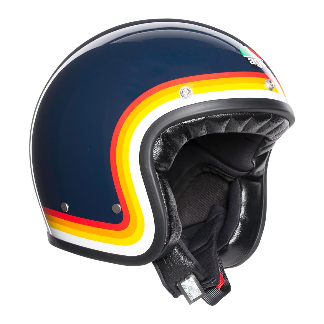 AGV(エージーブイ) バイク用ヘルメット ジェット LEGENDS X70 / RIVIERA BLUE/RAINBOW (リヴィエラ ブルー/レインボー) Lサイズ (59-60cm) 002192I0009-L