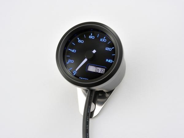 DAYTONA (デイトナ) バイク用 ミニメーター VELONA 電気式スピードメーター (非接触センサー無し) 140km/h ブラックボディ 3色LED 91682