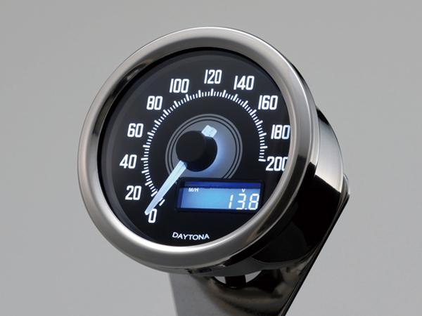 DAYTONA (デイトナ) バイク用 ミニメーター VELONAスピードメーター 200km/h バフボディー ブラックP/ホワイトLED 92248