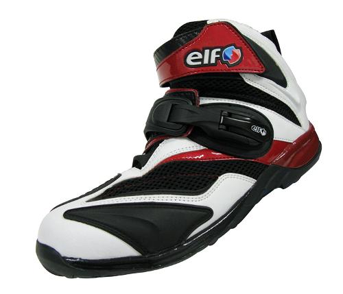 バイク スクーター ライディング ショート シューズ 靴 エルフ ELF ELF ライディングシューズ Synthese15 ホワイト/レッド 24.0cm