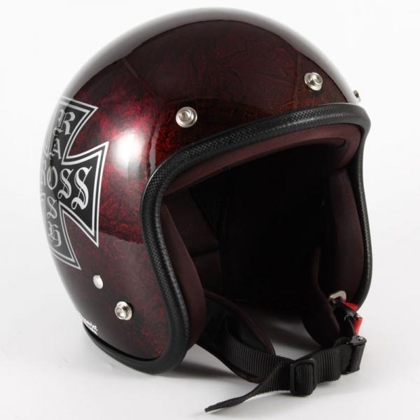 ジャムテックジャパン (72JAM) バイク用 ジェット ヘルメット JCPシリーズ RASH CROSS ラッシュ クロス (レッド/ブラウン) フリーサイズ (57~60cm未満) JCP-15