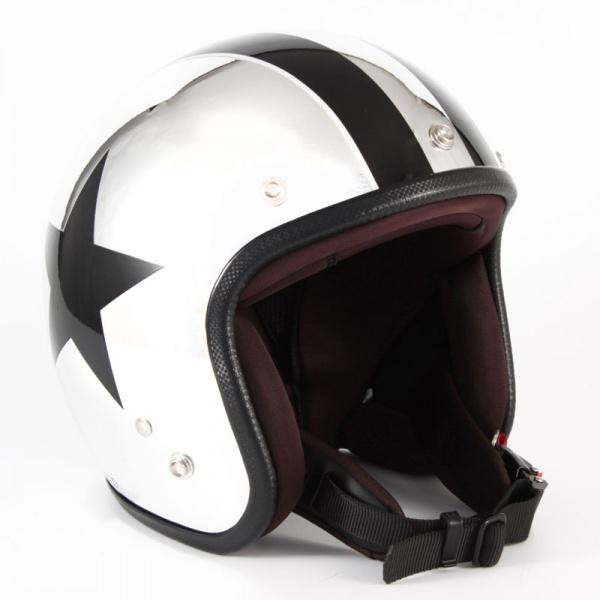 ジャムテックジャパン (72JAM) バイク用 ジェット ヘルメット JCPシリーズ CHROMES TWIN STAR クロムズ ツイン スター (メッキ) フリーサイズ (57~60cm未満) JCP-10
