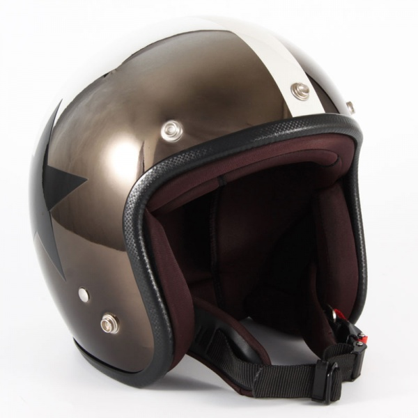 ジャムテックジャパン (72JAM) バイク用 ジェット ヘルメット JCPシリーズ CHROMES CLASSICAL STAR クロムズ クラシカル スター (メッキ) フリーサイズ (57~60cm未満) JCP-11