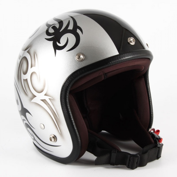 ジャムテックジャパン (72JAM) バイク用 ジェット ヘルメット JCPシリーズ TRIBAL トライバル (シルバー/ブラックライン) フリーサイズ (57~60cm未満) JCP-25