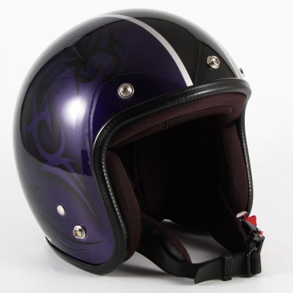 ジャムテックジャパン (72JAM) バイク用 ジェット ヘルメット JCPシリーズ TRIBAL トライバル (パープル/ブラックライン) フリーサイズ (57~60cm未満) JCP-27
